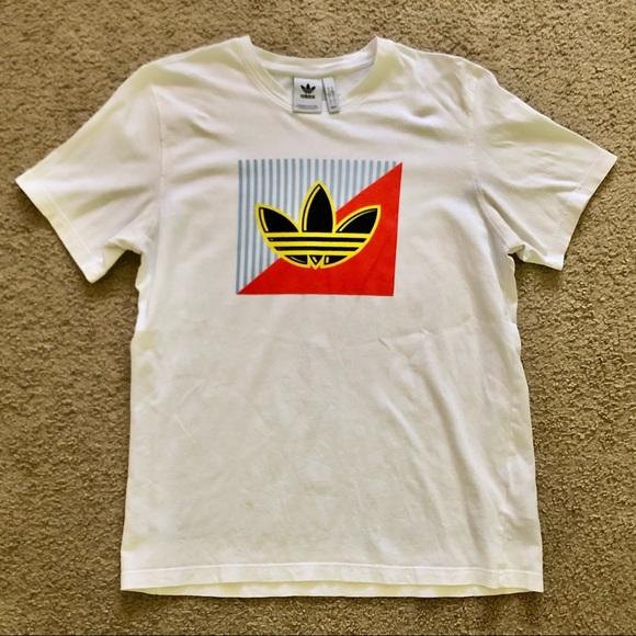Adidas Diagonal Logo Tee White Short Sleeve Large